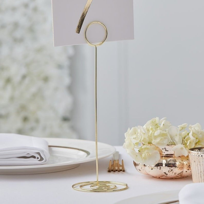 Gold Metal Table Number Stand Table Number Holder Botanical Etsy In 2020 Wedding Table Number Holders Table Number Stands Metal Table Number
