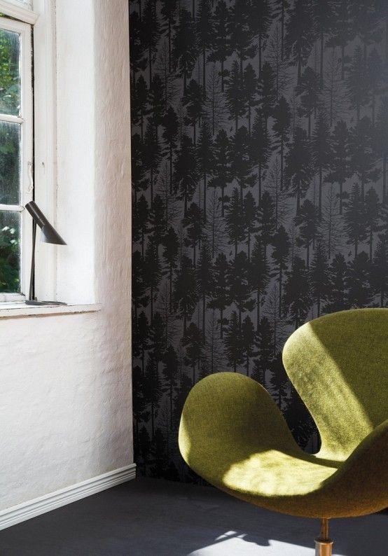 Swan Chair Vert Fond Ecran Noir Tapis Muraux Et Papier Peint Blanc