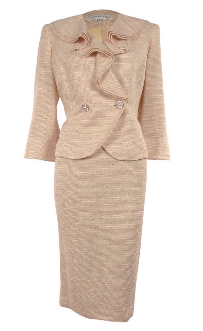 Nipon Boutique Women S Double Breasted Metallic Business Suit Skirt