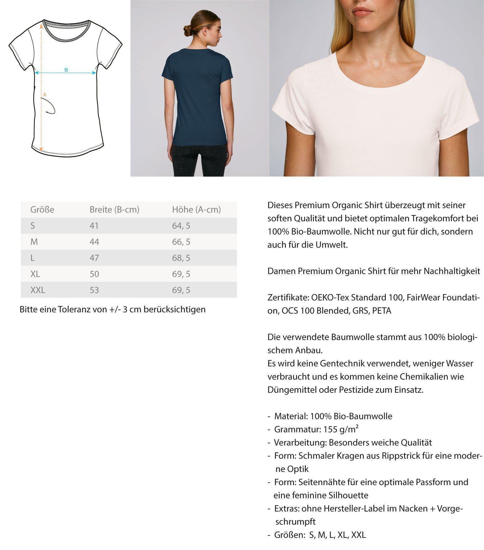 Dieses Premium Organic Damen Shirt überzeugt mit seiner soften Qualität und bietet optimalen Tragekomfort bei 100% Bio-Baumwolle. Nicht nur gut für dich, sondern auch für die Umwelt. Das Premium Organic Shirt eignet sich außerdem hervorragend als Geschenk für deine Liebsten, egal ob zum Vatertag, Muttertag, Weihnachten oder Geburtstag. Mit diesem einzigartigen Shirt sticht dein Geschenk ganz besonders heraus.Nach erfolgter Bestellung wird dein Produkt exklusiv für dich unmittelbar produziert und