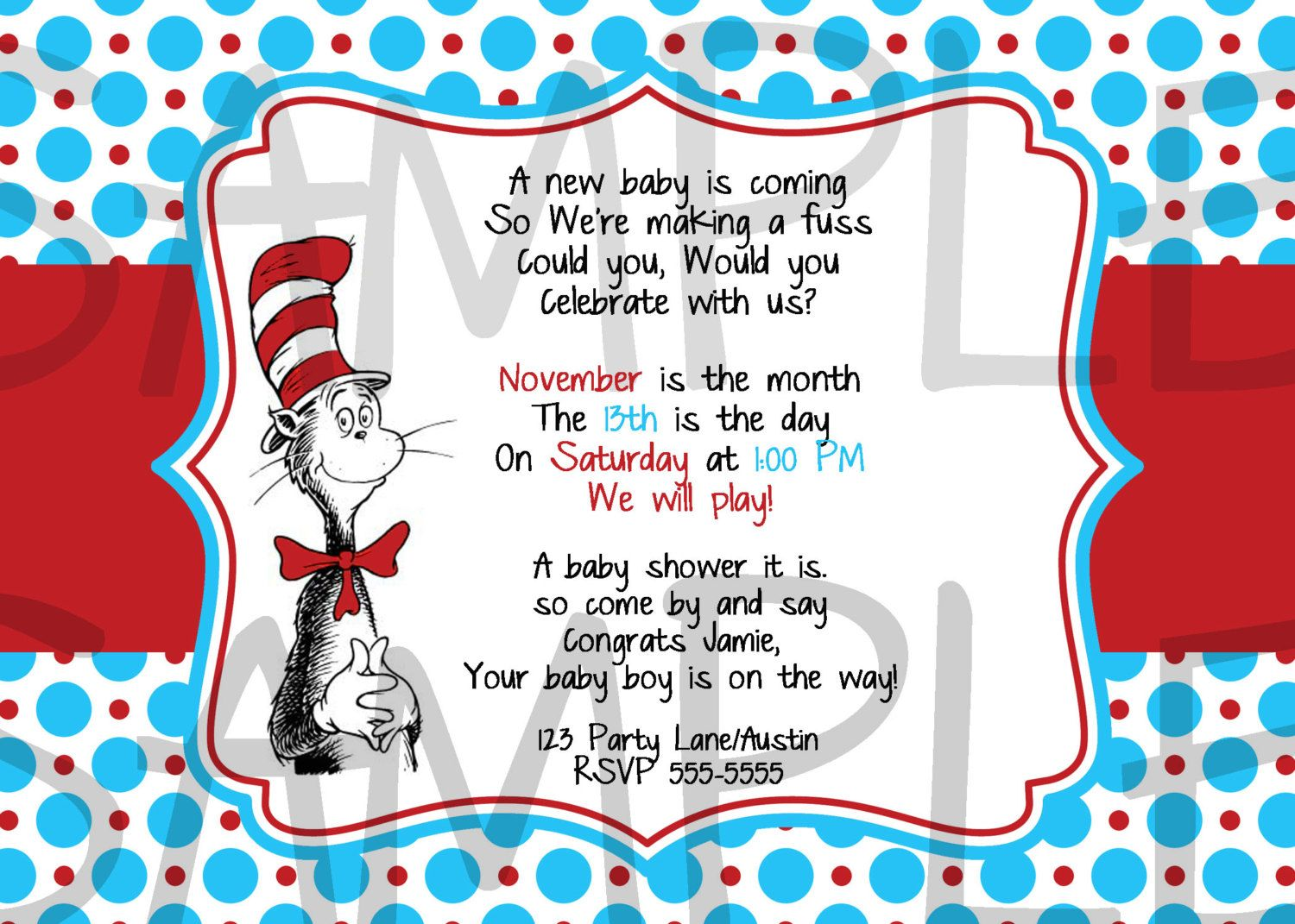 Dr Seuss Printable Baby Shower Invitation via Etsy Dr seuss