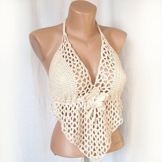 Beige bikini top , Open bask sexy halter top , Festival crochet ...