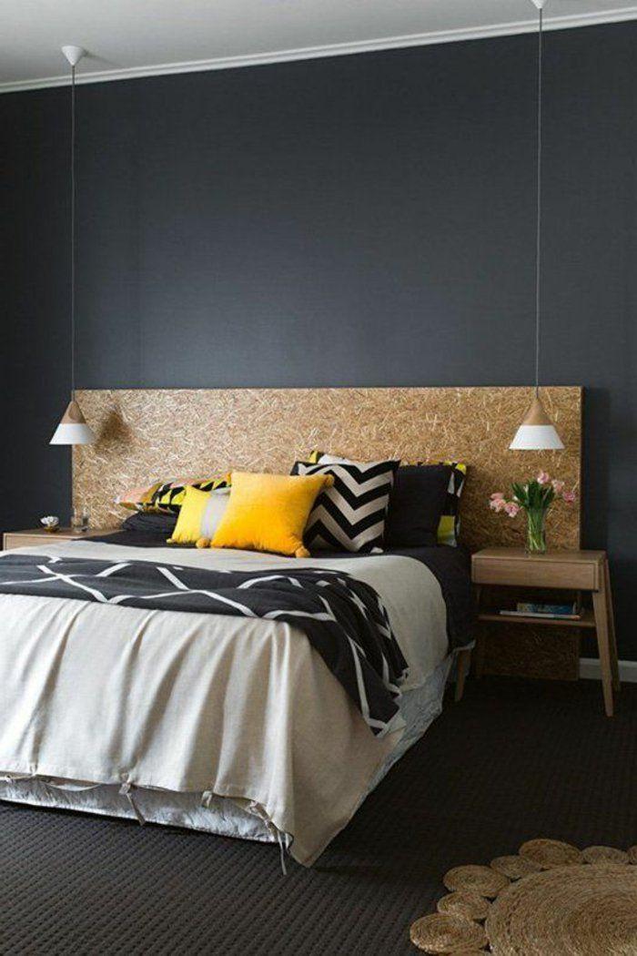 chambre-à-coucher-avec-intérieur-gris-quelle-peinture-satiné-choisir - Peindre Un Mur Interieur