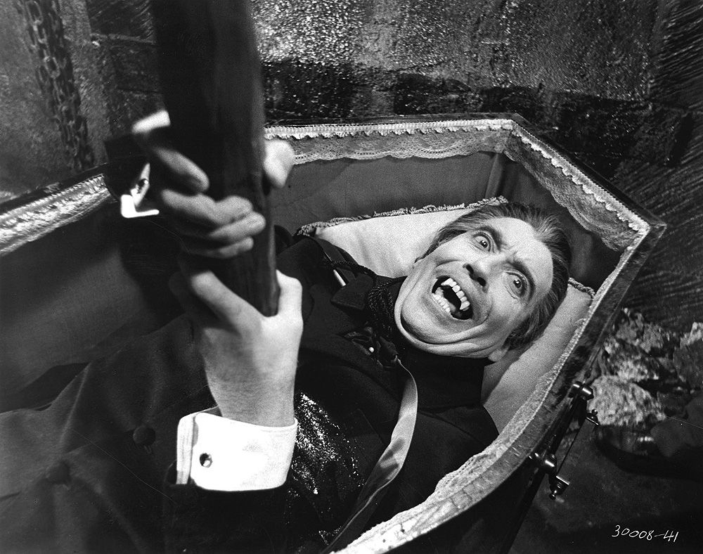 Christopher Lee staked in DRACULA HAS RISEN FROM THE GRAVE (1968).
