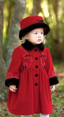 Sarah Louise Little Girls Red Coat and Hat | Winter wedding ...