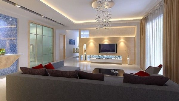 Lighting Aesthetic Living Room Lamp Using Crystal Hanging Lights And Recessed Led Downlights Mounted On Gypsum