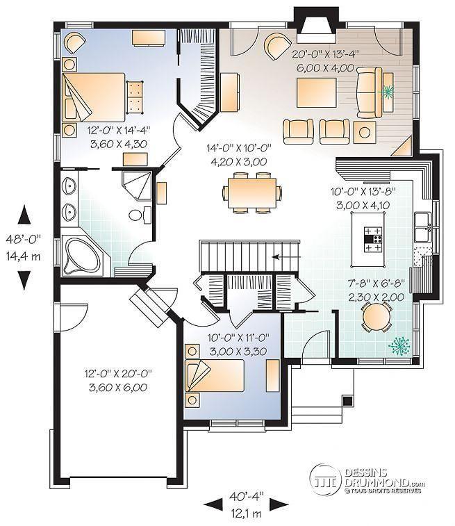 Plan De Rez De Chaussée Bungalow Avec Garage, 2 Ch. Et Foyer