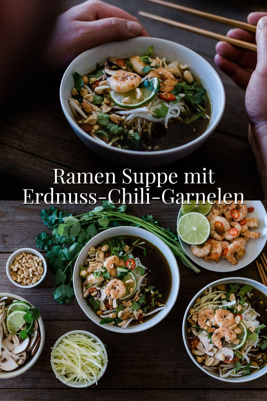 Vegetarische Ramen Suppe mit Erdnuss-Chili-Garnelen