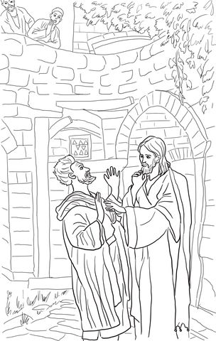 Jesus Heals Deaf Mute Coloring page | biblie copii | Pinterest