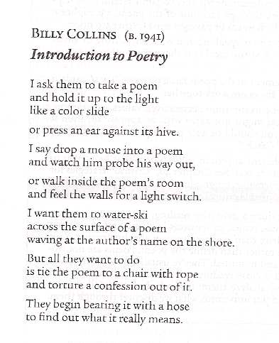 intro to poetry billy collins