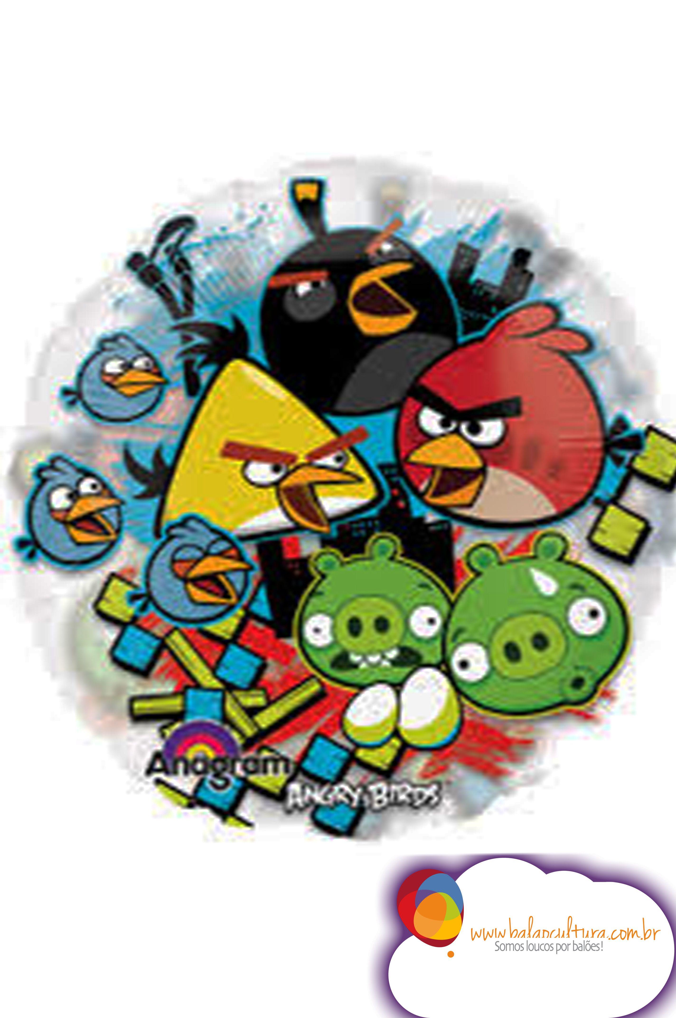 Balão Angry Birds Todos.  Tamanho:Super Shape. www.balaocultura.com.br