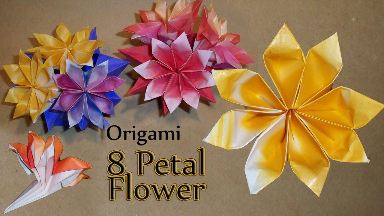 Origami 8 Petal Flower Origami 1 Pinterest Origami Flower And