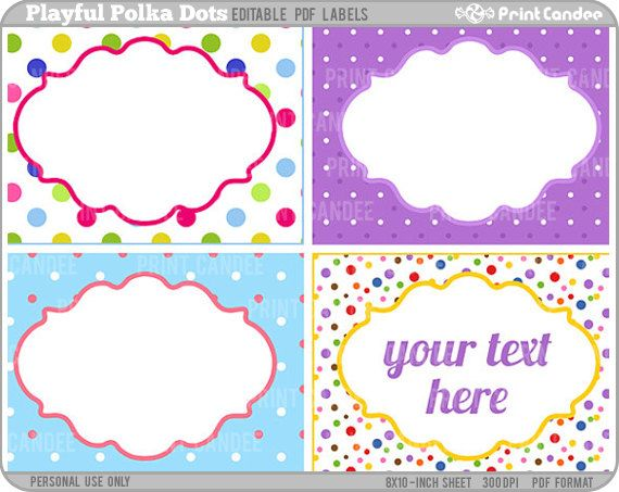 Rectangle - Editable PDF (8x10) Playful Polka Dots Labels - labels template free
