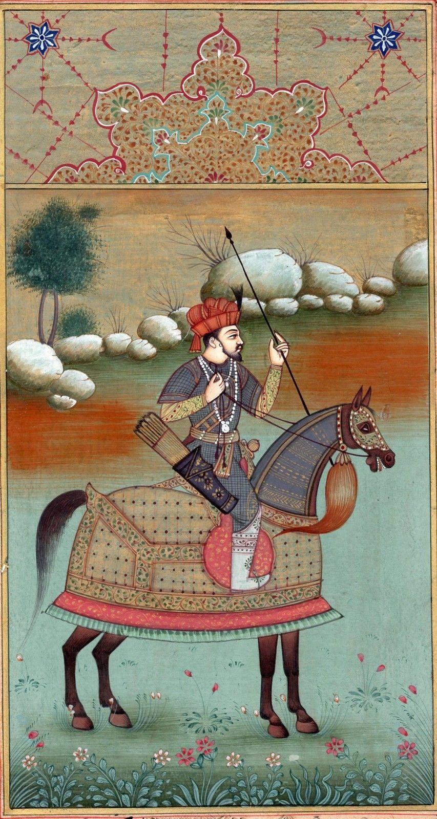 Mughal Miniature Painting Rare Handmade Timur Equestrian