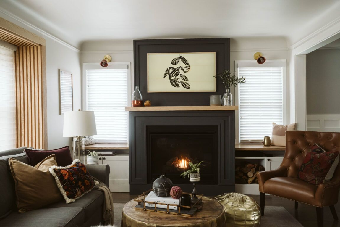 MODERN LIVING SPACE DESIGN WITH FIREPLACE : ONE ROOM ...