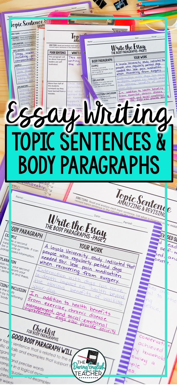 0010 Topic Sentence and Body Paragraph Essay Writing Topic