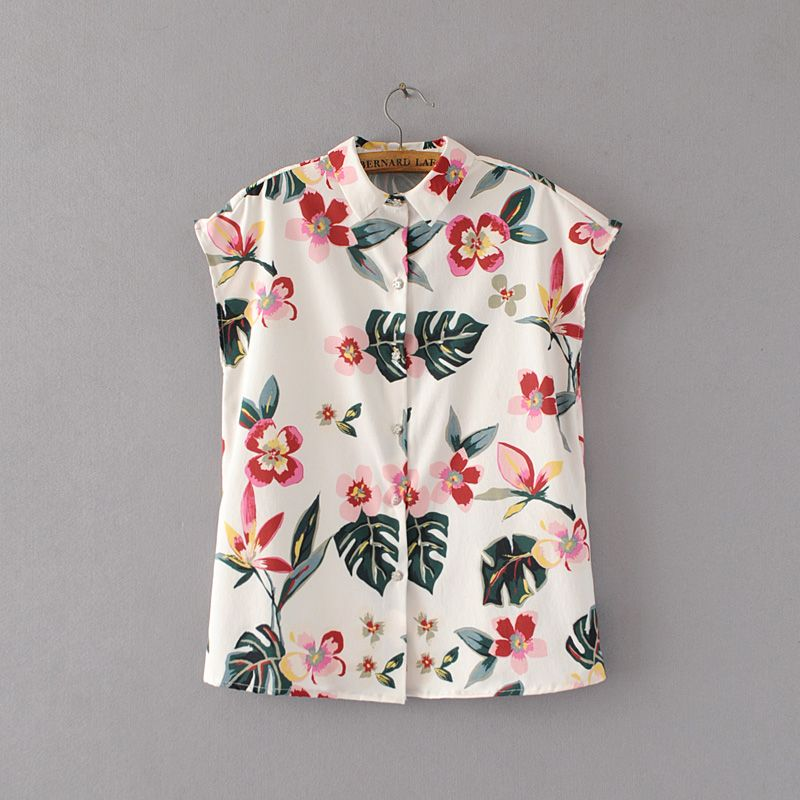 2017 Spring and Summer New Arrival Women Fashion Floral Print Sleeveless Shirts, Female Tops Casual Blouse blusas mujer