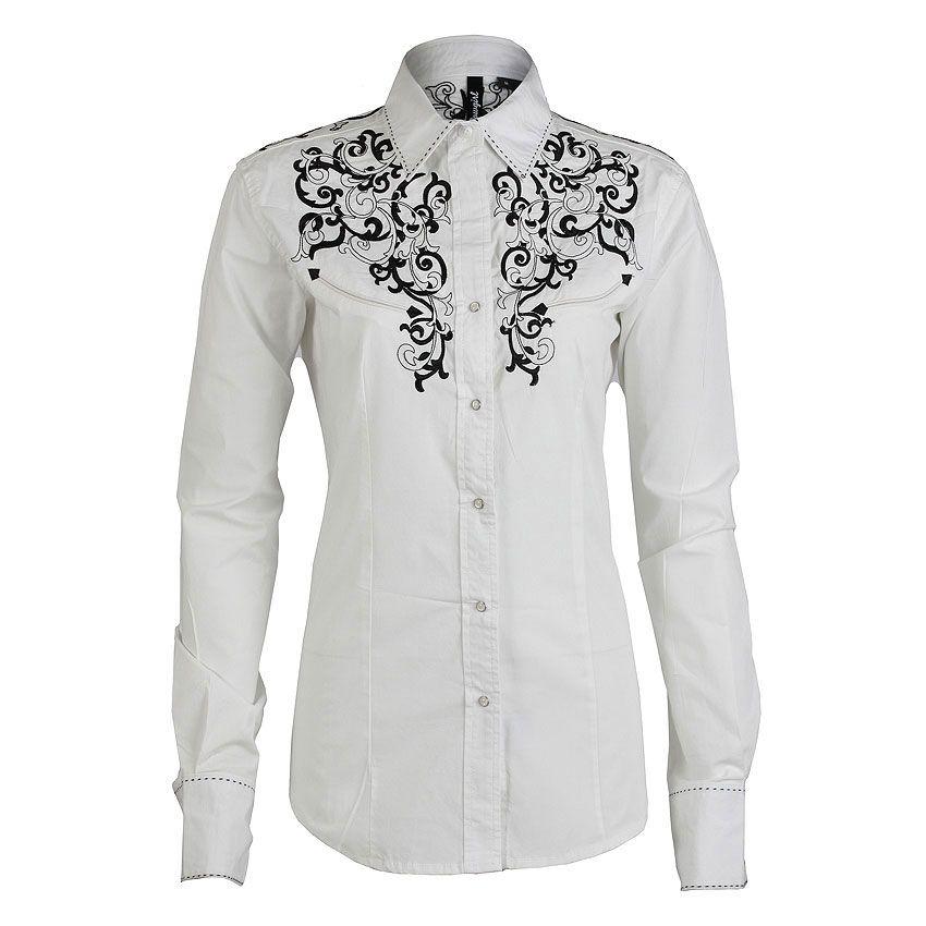Ely Walker Men's Embroidered Rose Long Sleeve Western Shirt For Women