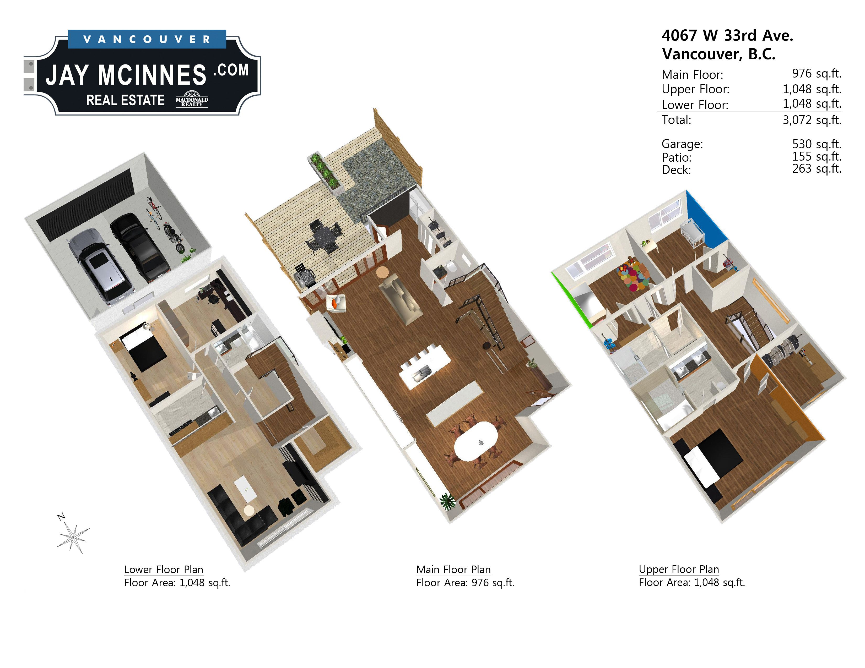 3d floor plan of 4067 w 33rd ave vancouver west side modern
