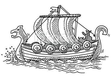 Viking Ship Drawings Sketch Coloring Page Met Afbeeldingen
