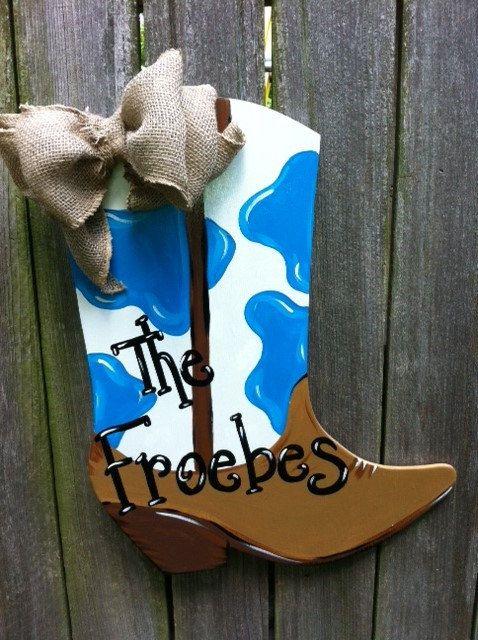 Cowboy Or Cowgirl Western Boot Wooden Door Hanger By Earthlizard Wooden Door Hangers Door