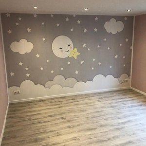 Wallpaper, photo wallpaper, nursery, moon, star, b