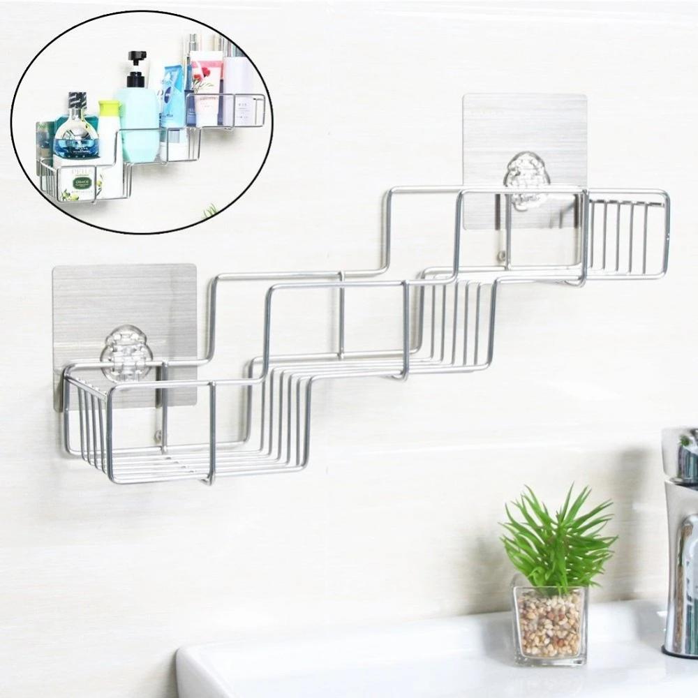 Viav Adhesive Bathroom Shelf Organizer Storage Stainless Steel