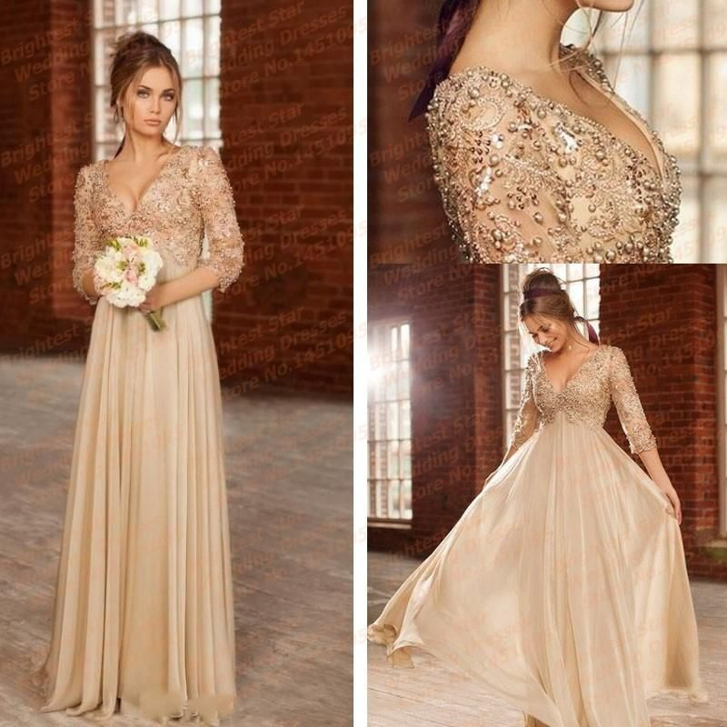 New v neck beaded with pearls appliqued lace long sleeve for Long sleeve lace maternity wedding dress