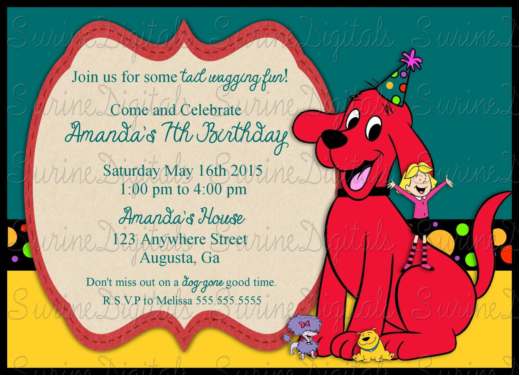 Clifford the Big Red Dog Birthday Party Invitation Childs party