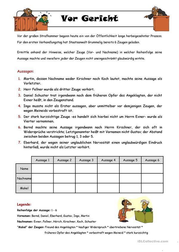 Logical _ Vor Gericht | jale+yahya emin | Pinterest | Arbeitsblätter ...