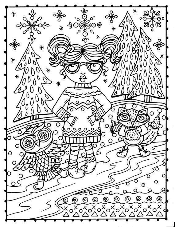 Winter Woodland Wonderland Coloring Book Digital