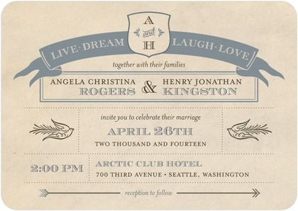 Signature White Wedding Invitations Sparrows And Arrows Front