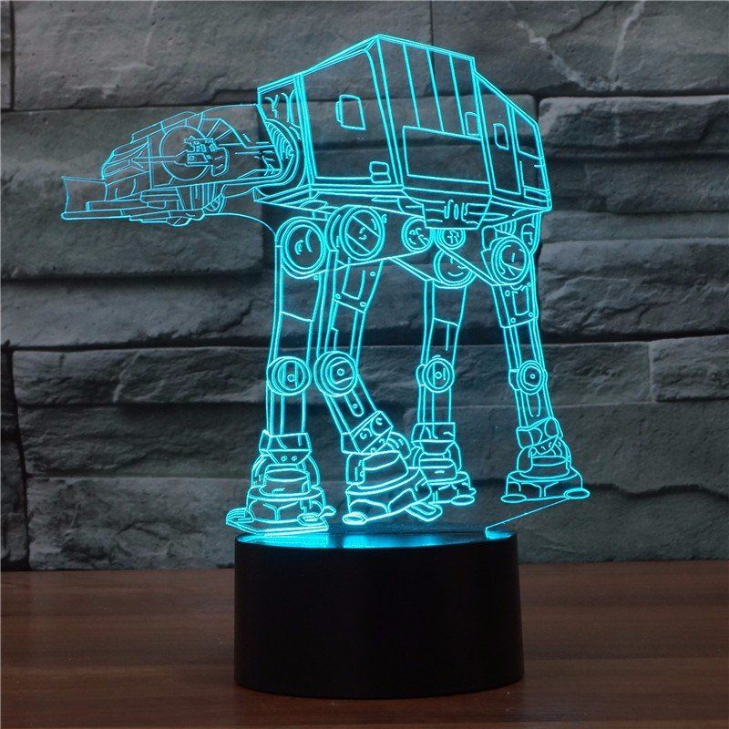 Star War At At Walker Robot Design Color Changing Acrylic 3d Illusion Led Lamp Star War At At Walker R 3d Led Night Light Star Night Light Star Wars Lamp