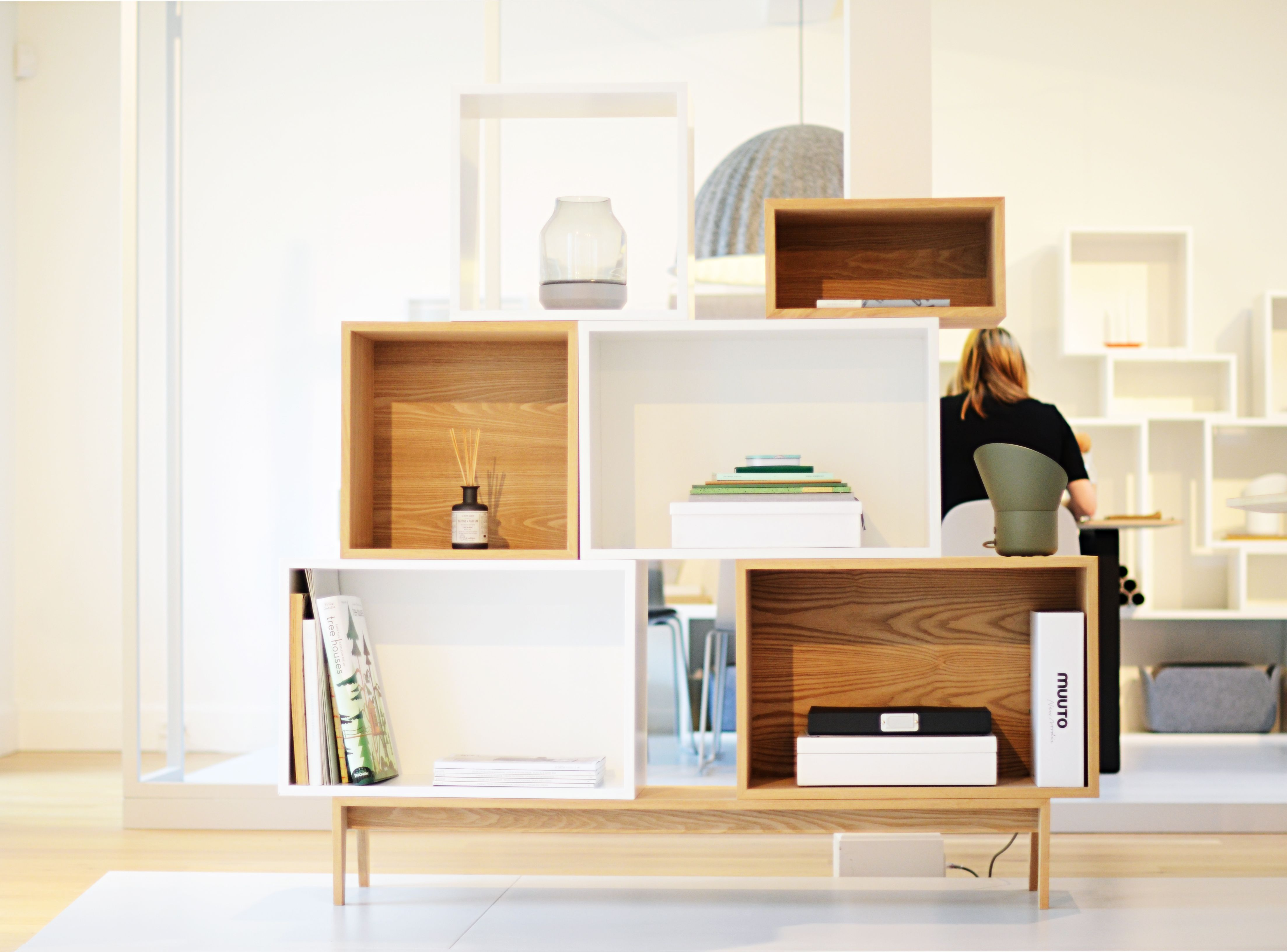 Muuto STACKED with the ELEVATED vase and UP lamp on it at our