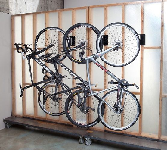 custom bike rack for garage with wheels home projects bicycle storage bike storage rack. Black Bedroom Furniture Sets. Home Design Ideas