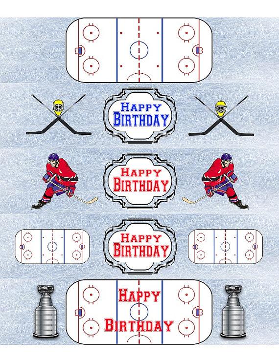 Hockey Water Bottle Labels Birthday Printable Hockey Labels Etsy Hockey Water Bottle Hockey Birthday Parties Water Bottle Labels Birthday