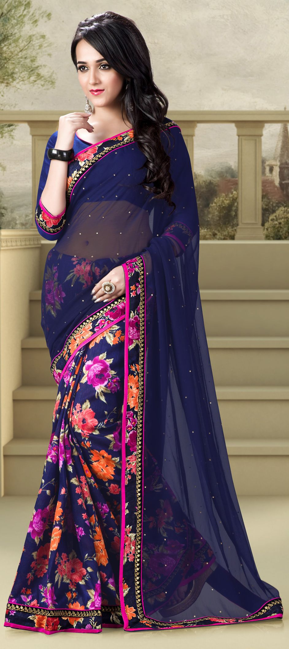 181667: Blue color family Party Wear Sarees, Printed Sarees with matching unstitched blouse.