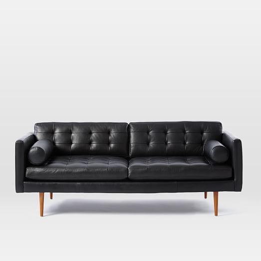 Monroe Mid Century Leather Sofa In 2020 Mid Century Leather Sofa Black Leather Sofas Mid Century Modern Leather Sofa