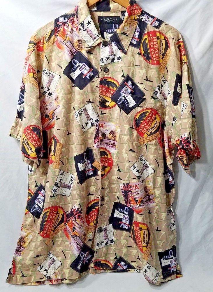 Cactus black label tiki bar shirt camp casual button up