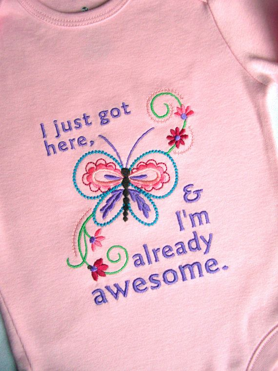 I Just Got Here and I'm Already Awesome by theblissfulstitcher, $38.00