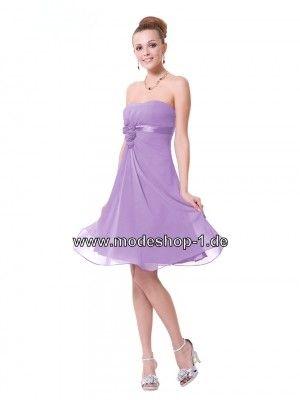 Trägerloses Cocktail Kleid in Flieder Mitellang | Cocktailkleider ...