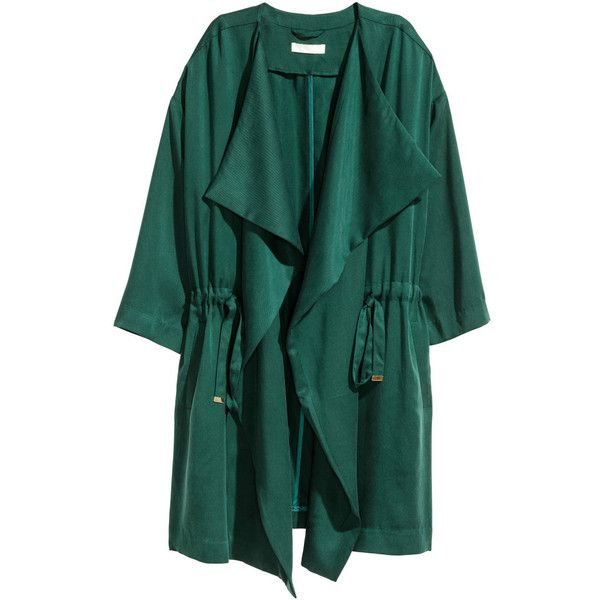 H&M+ Lyocell Coat $59.99 (€54) ❤ liked on Polyvore featuring outerwear, coats, lapel coat, h&m coats, green coat and drape coat