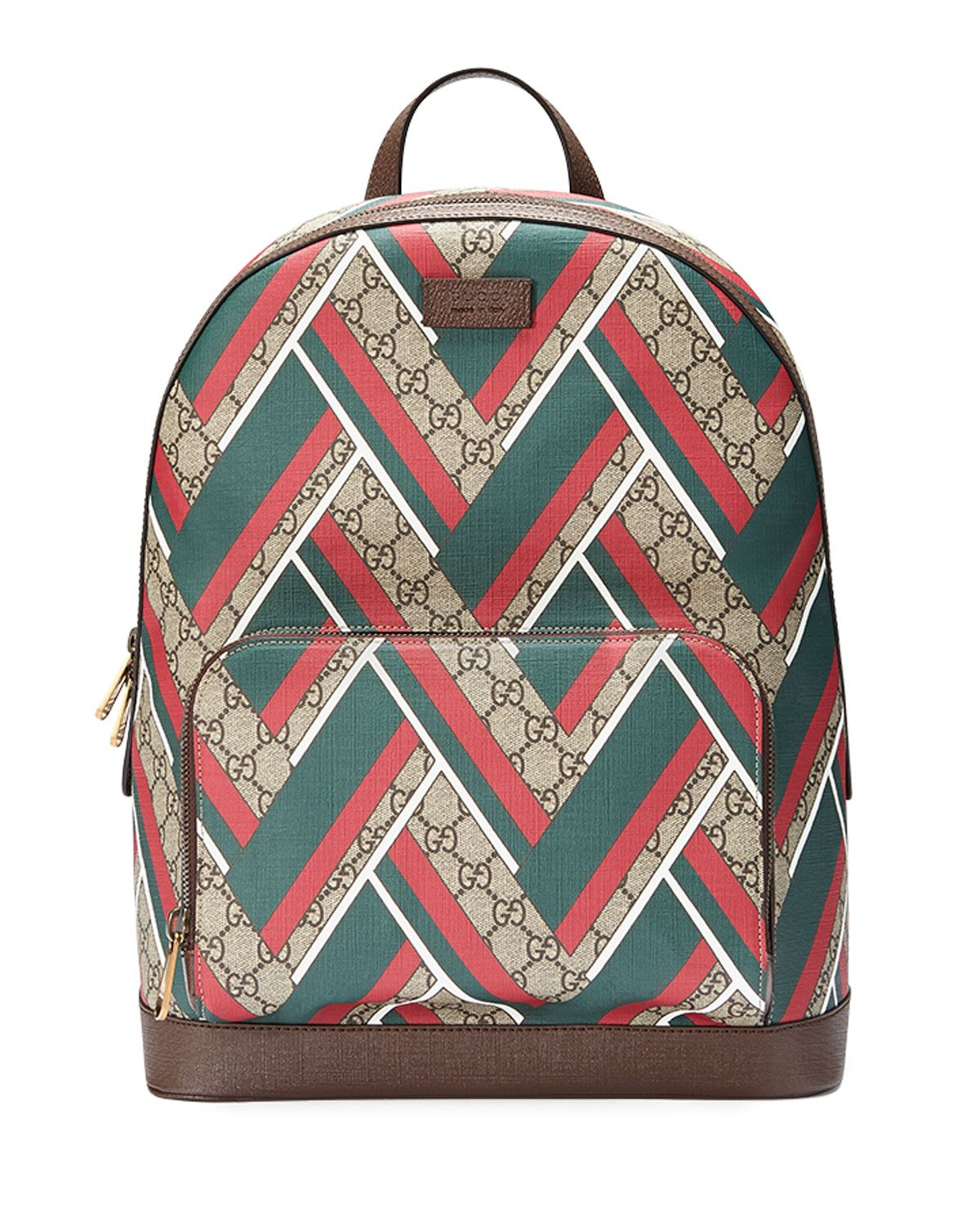 1ef883309 Gucci backpack in beige/ebony GG supreme canvas with red, white, and green  chevron print. Light brown leather trim; leather logo tag at front.