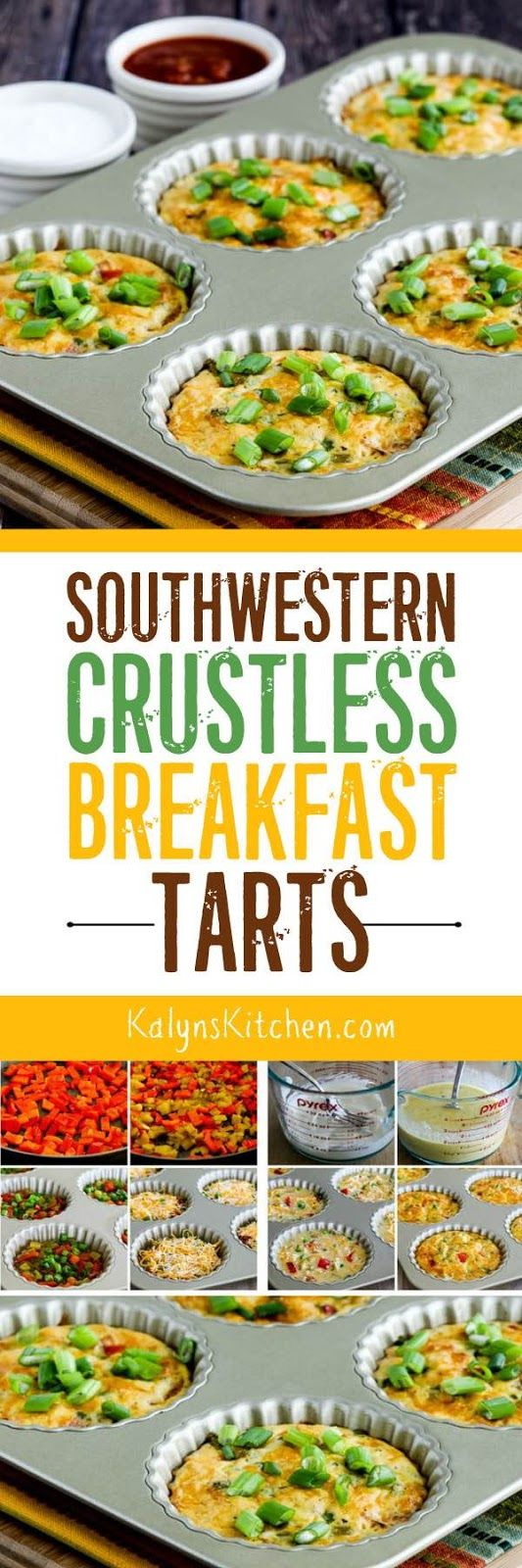Southwestern Crustless Breakfast Tarts are a delicious low-carb breakfast that's also Keto, low-glycemic, gluten-free, meatless, and can be South Beach Diet friendly!  This would be a great breakfast when you have overnight guests, and it's great for those times you need a low-carb treat as well! [found on KalynsKitchen.com] #CrustlessBreakfastTart #LowCarbBreakfastTart #LowCarbSouthwesternBreakfat #LowCarbBreakfat #BreakfastTart