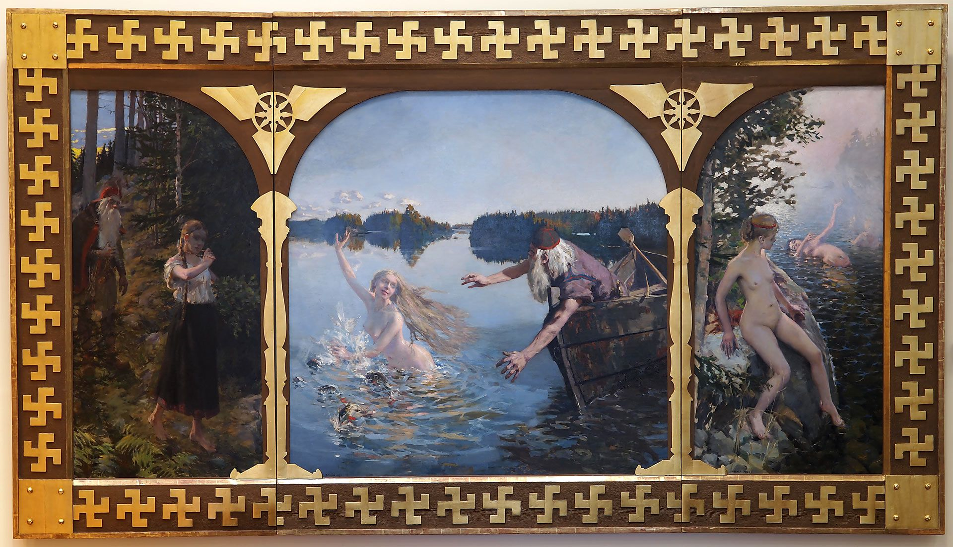 In Finland the Swastika was introduced in the high art included in the frame of the painting ?Aino? by Akseli Gallen-Kallela in 1889, now owned by the Bank ...