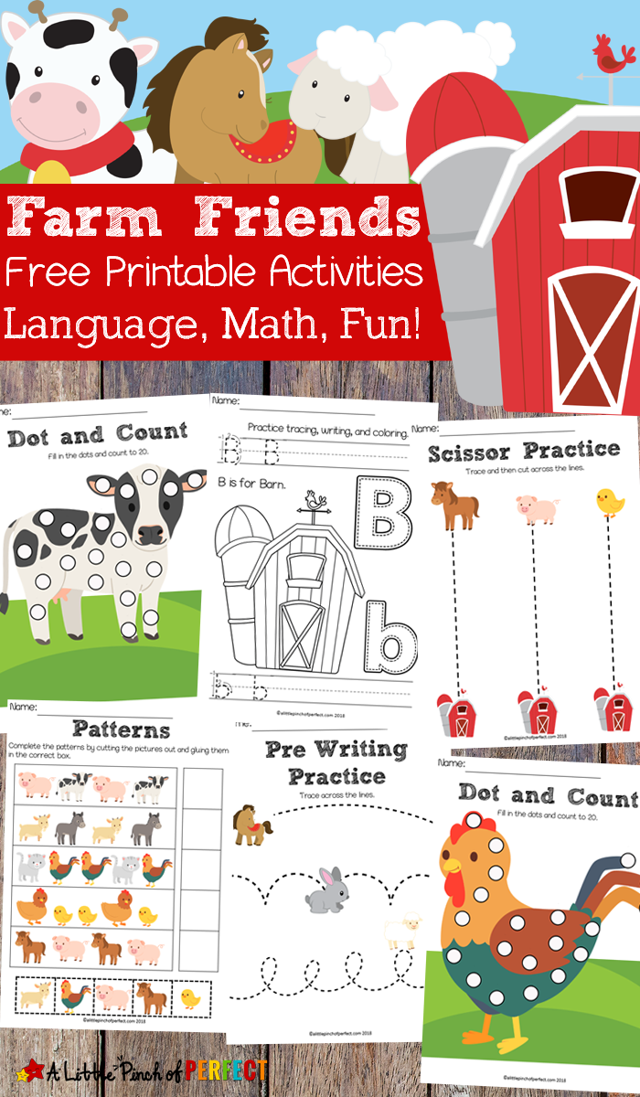 Free farm friends printable activity pack language math and fun