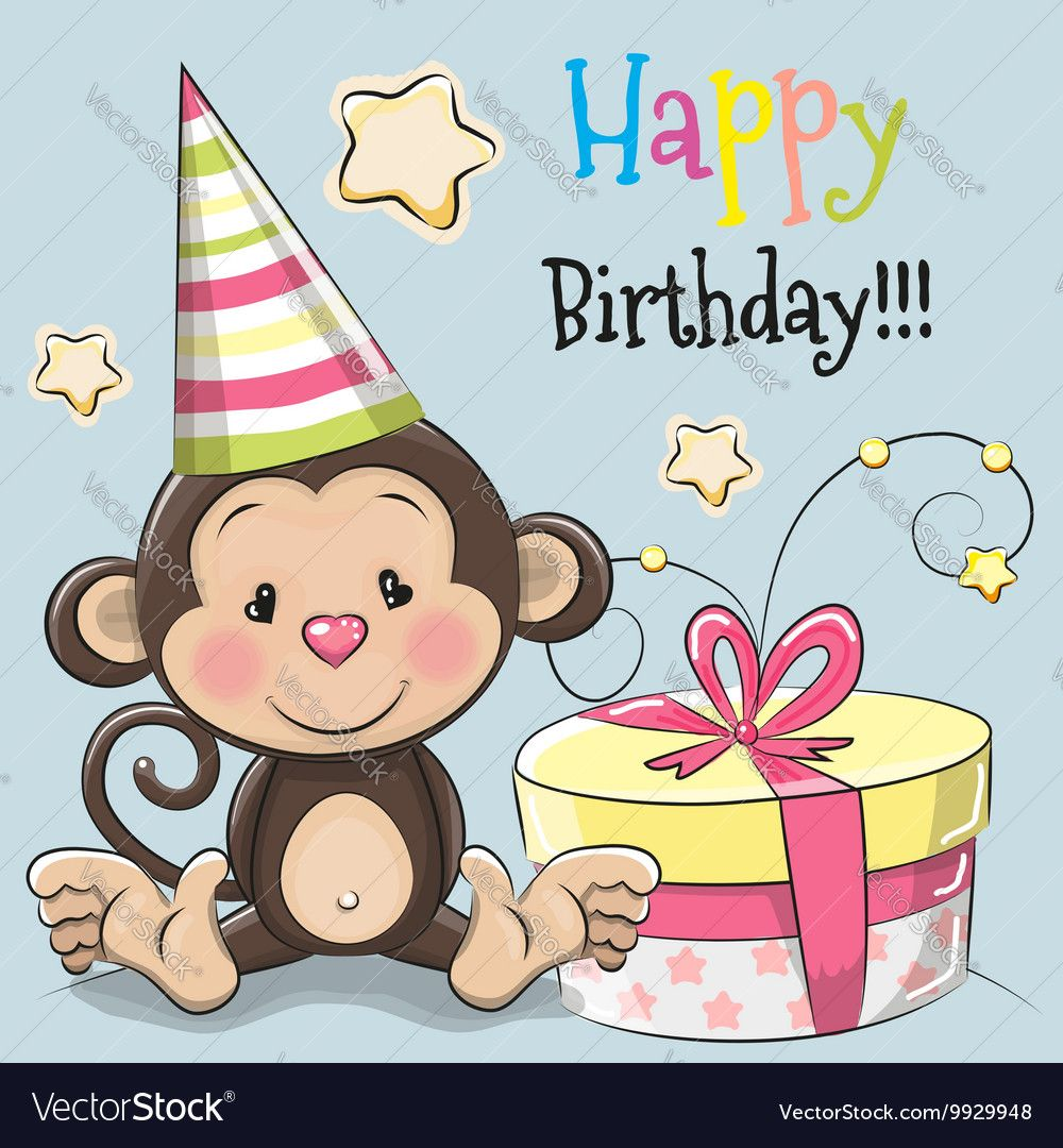 Greeting Card Cute Monkey With Gift On A Blue Background Download A Free Preview Or High Quality Adobe Illustrator Ai Monkey Birthday Cute Monkey Monkey Gifts