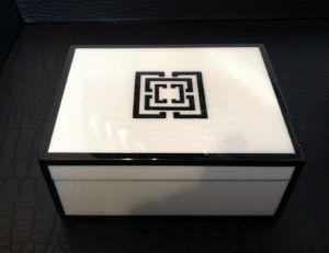 Superbe White Lacquer Storage Boxes