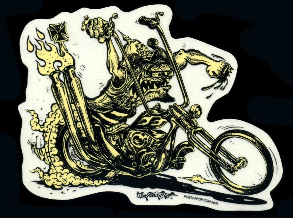 Von Franco Sticker Decal Hot Rod Monster Motorcycle Kustom Kulture Poster Pop