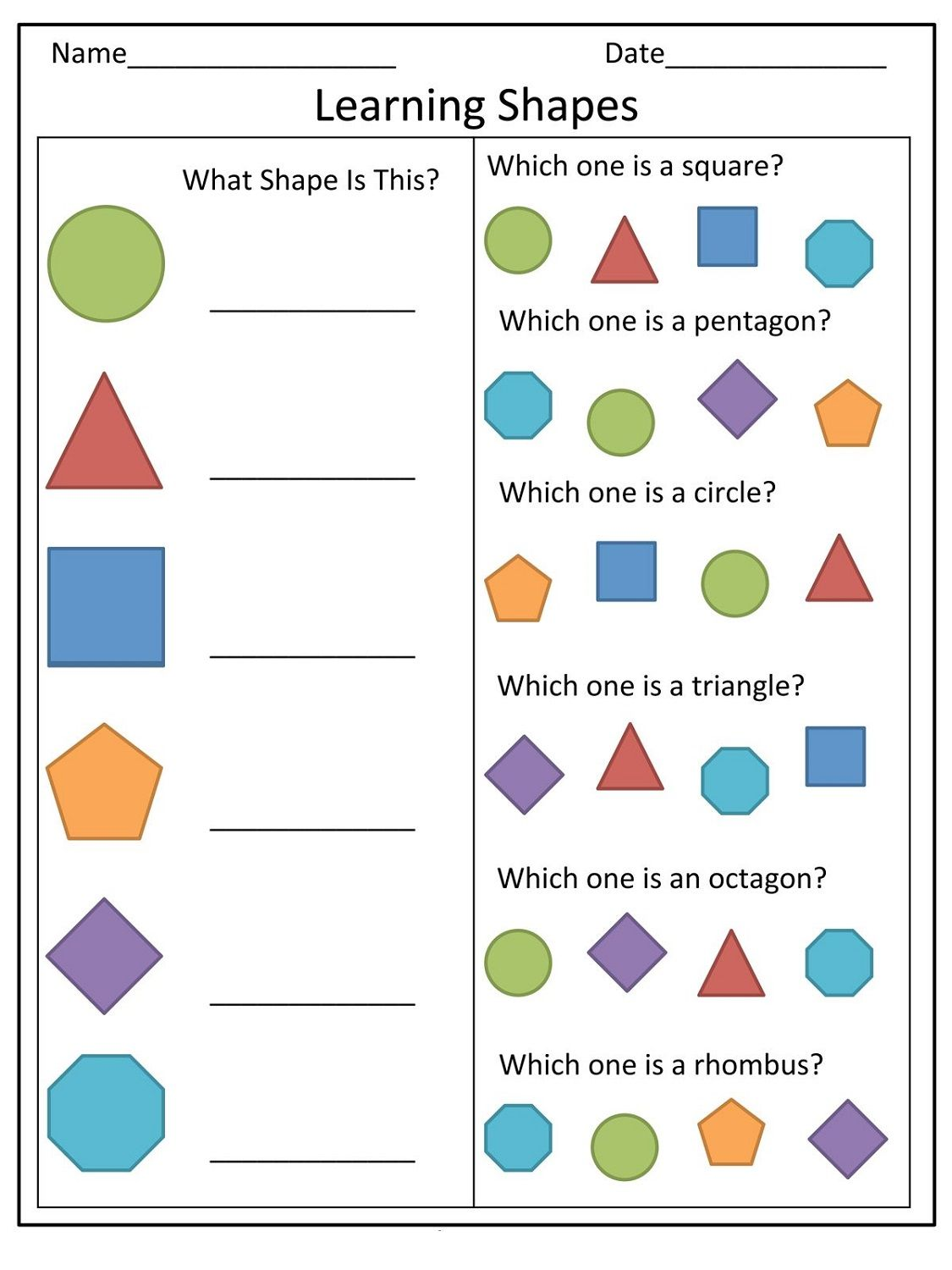 Basic Shapes Worksheets For Preschool